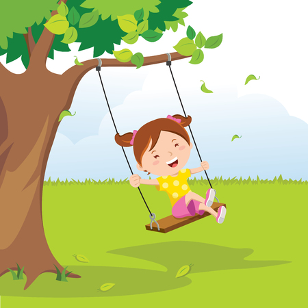 Little girl on swing under the tree Ilustrace