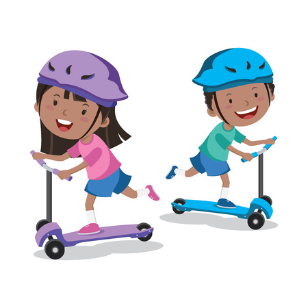 Little kids learn to ride scooter
