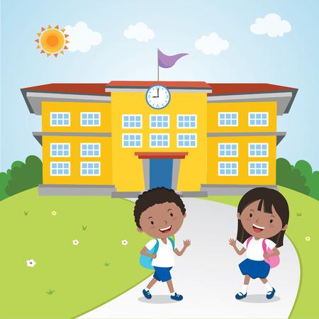 Children go to school Stock Illustratie
