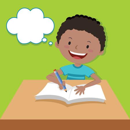 Cute boy writing and thinking