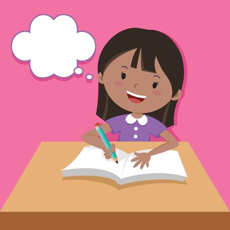 Nettes Mädchen, das Schreiben und Denken