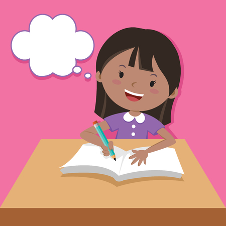 Cute girl writing and thinking Illustration