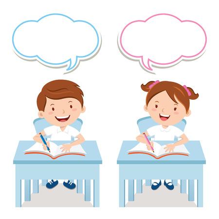 niños de la escuela estudian juntos
