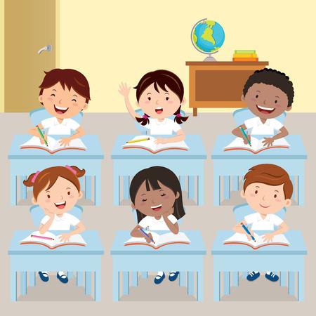 school classroom: School kids studying in classroom Illustration