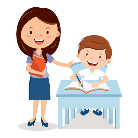 Teacher and school boy Illustration