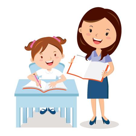Teacher and school girl