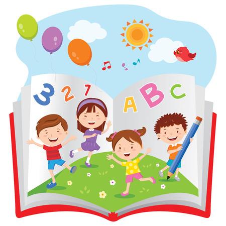 schoolkid: Fun with book Illustration