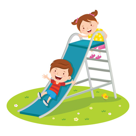 Children playing on slide