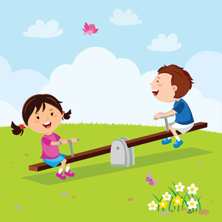 Kids riding on seesaw