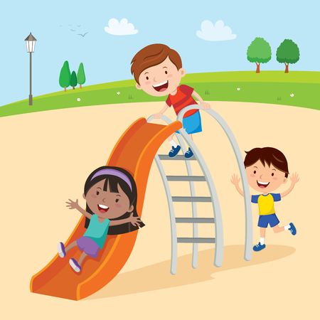 Kids playing on slide Illustration