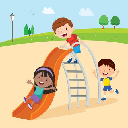 Kids playing on slide Иллюстрация