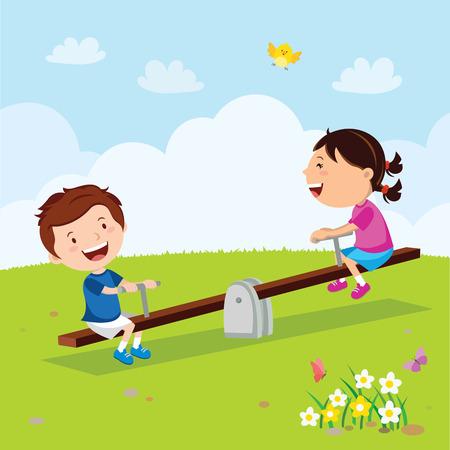 Children riding on seesaw