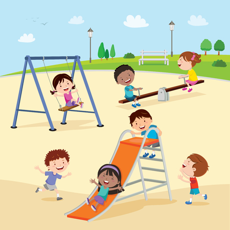 Playground. Kids at the playground. Vectores