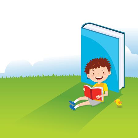 boy kid: Boy reading book. A kid is enjoying his reading.