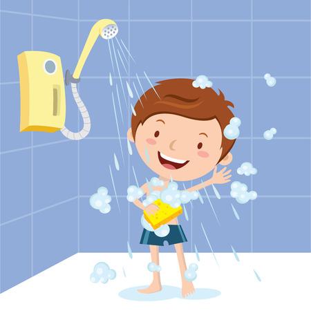Boy shower Illustration