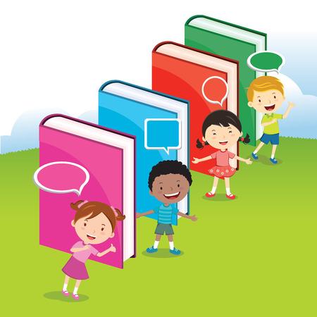 niños estudiando: Los niños aman los libros. Para promover una cultura de la lectura, los niños tienen actividades multinacionales con grandes libros multicolores.