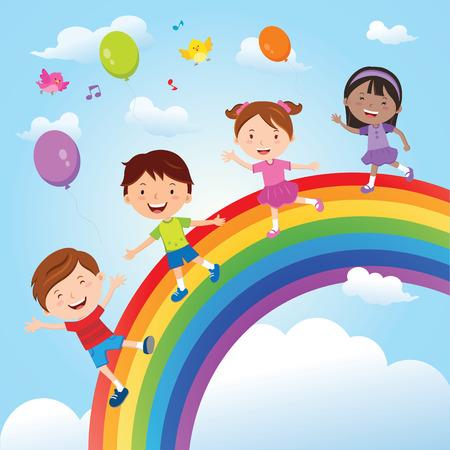 Diverse children on the rainbow