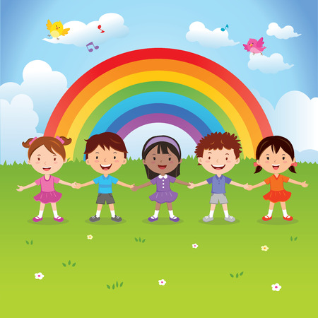 Diverse children under the rainbow. Vector illustration of happy kids holding hands with rainbow background. Çizim