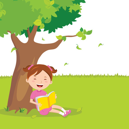 storybook: Girl outdoor reading