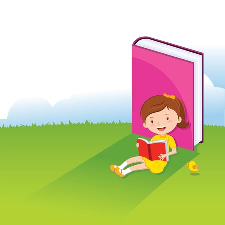 storybook: Girl reading book Illustration