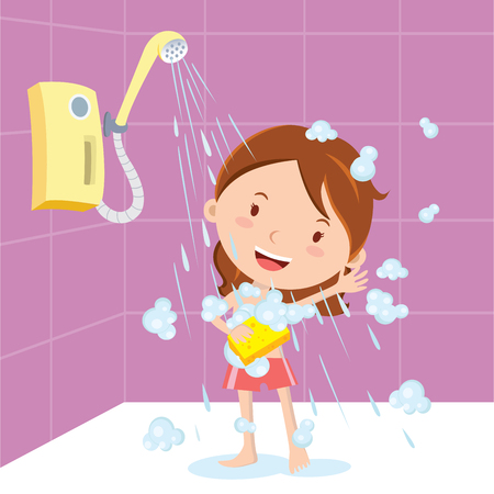 Girl shower. Vector illustration of a little girl showering or bathing.