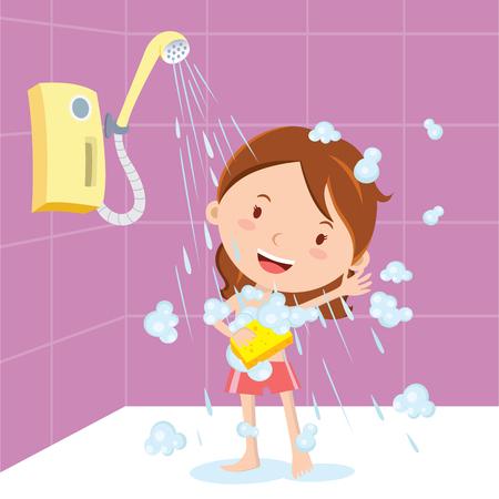 Girl shower. Vector illustration of a little girl showering or bathing. Imagens - 66571414