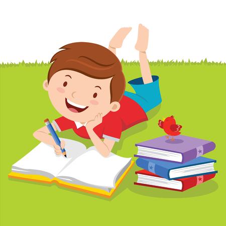 Kleiner Junge mit Bücher zu schreiben. Kreatives Schreiben. Vector Illustration eines schönen Jungen Schreiben im Freien. Vektorgrafik