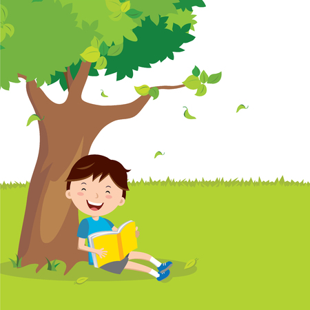 preasure: Boy read book under a tree Illustration
