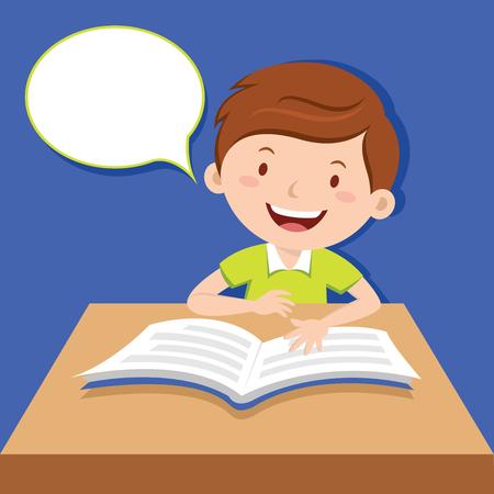 kid book: Cute boy reading book Illustration
