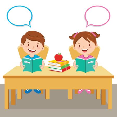 Children reading book Vectores