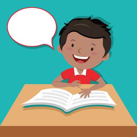 kid book: Little boy reading book Illustration