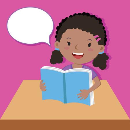 cute girl: Cute girl reading book Illustration