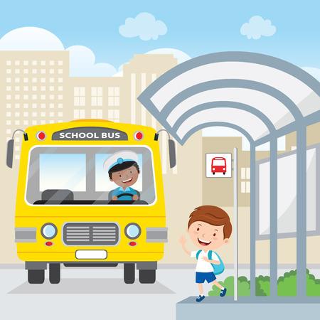 男の子の学校のバスを待っています。