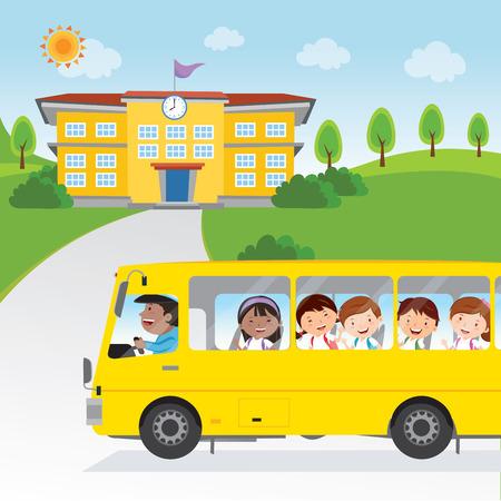 niños saliendo de la escuela: Niños que van a la escuela en autobús