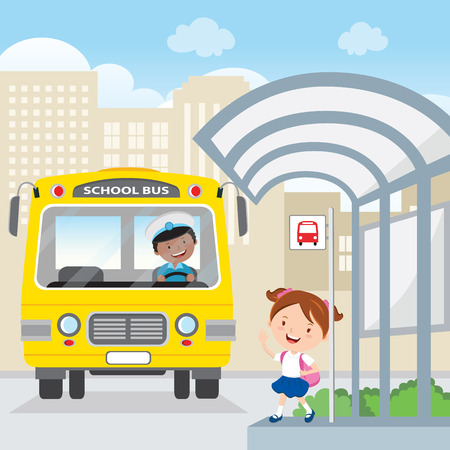 cartoon kid: Little girl waiting for school bus