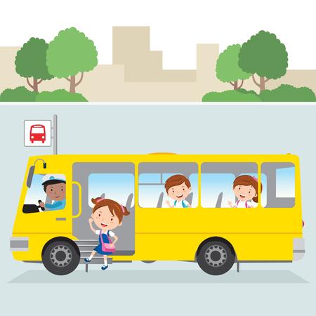Little girl board school bus