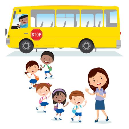 School bus. Back to school. Cheerful Teacher waving to the school kids.