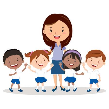 niños y maestros de escuela alegre Ilustración de vector