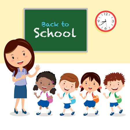 Cheerful teacher and school kids Vectores