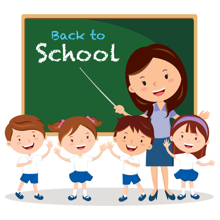 Teacher and school kids