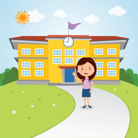 Teacher gesturing in front of the school building. Welcome back to school.