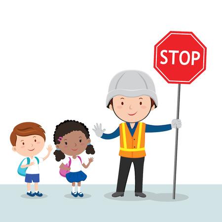 Traffic guard and school kids Stock Illustratie