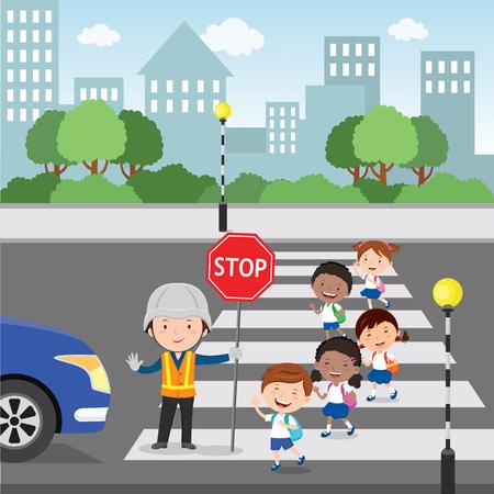 guardia Traffico aiutare i bambini delle scuole che attraversano strada tenendo un segnale di stop Vettoriali