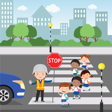 Traffic guard helping school kids crossing road by holding a stop sign