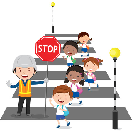 Traffic guard helping school kids crossing the street by holding a stop sign Çizim