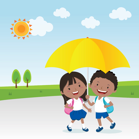schoolmate: Children under the umbrella in the sunny day. Illustration