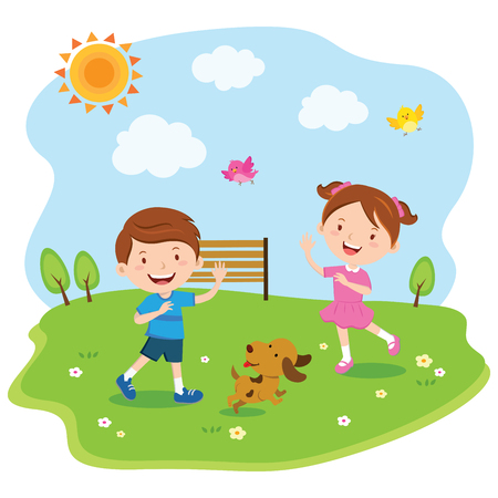 Happy kids playing under the sun