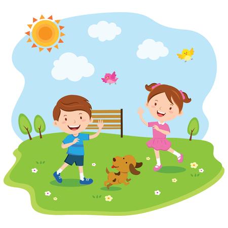 Felices los niños jugando bajo el sol Ilustración de vector