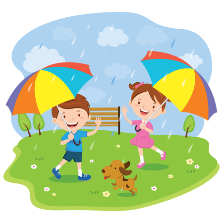 Children with multicolored umbrellas
