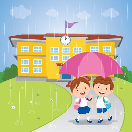 School kids sharing an umbrella in the rain Illustration